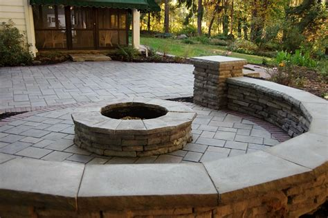 unilock pit unilock richcliff paver patio with rivercrest sitting wall