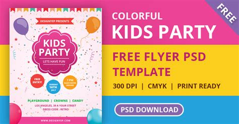 kids party flyer psd template designyep