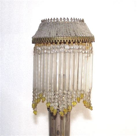 beaded l shades vintage beaded candle stick shade yellow and clear glass
