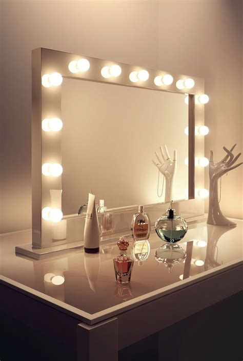 mirror with light bulbs high gloss white makeup dressing room mirror