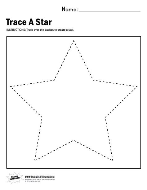 Star Craft Preschool Printable Activities | trace a star worksheet paging supermom arts crafts
