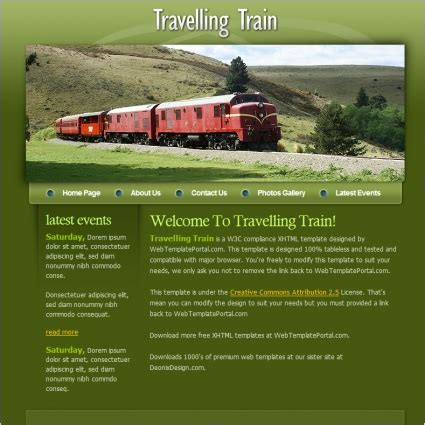Templates For Railway Website | travelling train template free website templates in css