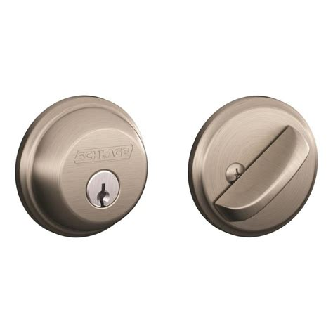 Shop Schlage Century Traditional Satin Nickel Single Lock Keyed Entry Door Handleset At Lowes Shop Schlage B60 Traditional Satin Nickel 1 Deadbolt At Lowes