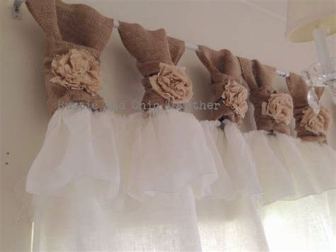 White Burlap Curtains White Linen And Burlap Ruffles Curtains Wide Ruched Tabs Tea Dyed Rosette Pic