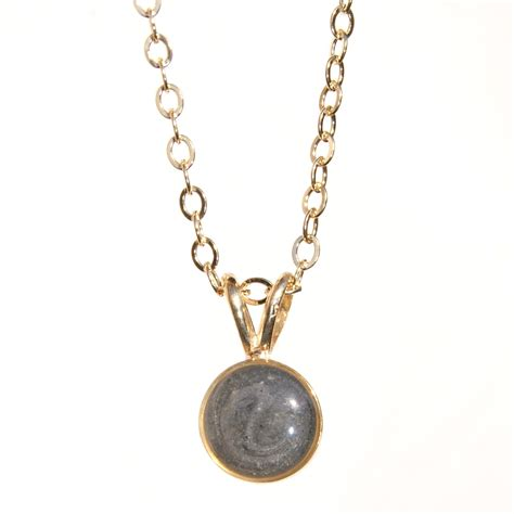 circle cremation pendant 8mm 14k yellow gold pet ashes