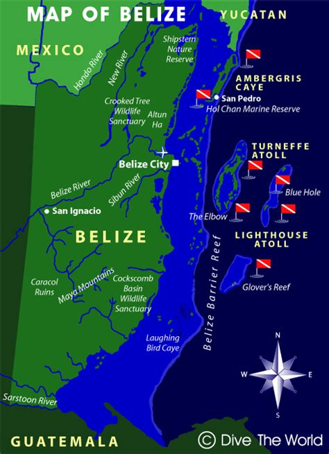 dive the world map of belize ambergris caye turneffe atoll lighthouse