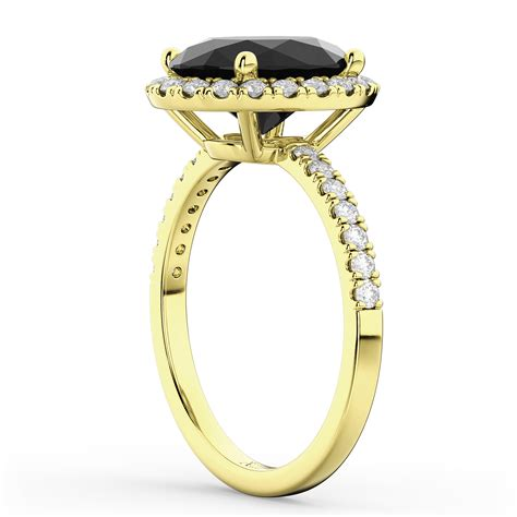 oval black engagement ring 14k yellow
