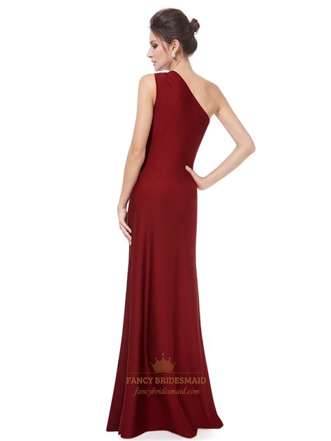 Gorgeous One Shoulder Dresses by Burgundy One Shoulder Bridesmaid Dress Gorgeous One