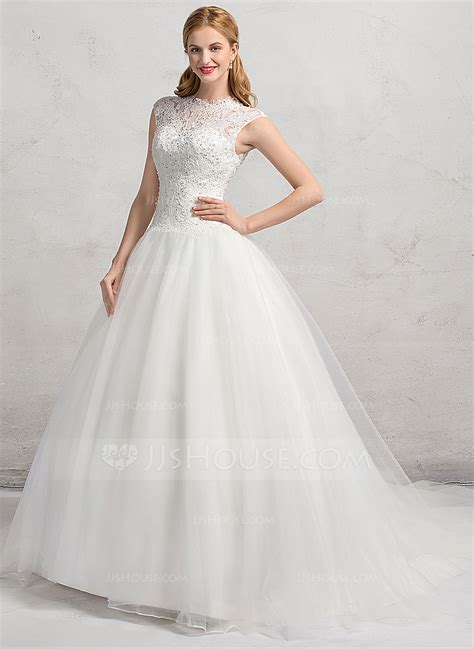 Chapel Wedding Dress by Gown Scoop Neck Chapel Organza Lace Wedding