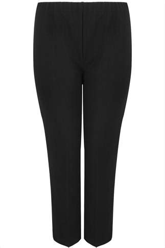 Kaos Anonymous 02 Buy Side black pull on ribbed bootcut trousers plus size 16 to 32