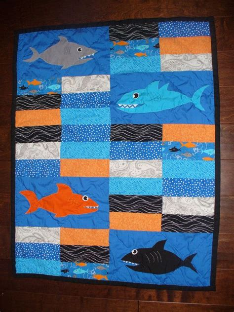 shark baby quilt orange blue and black shark nursery quilt handmade and
