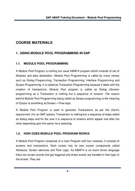 sap tutorial module pool sap training document module pool programming