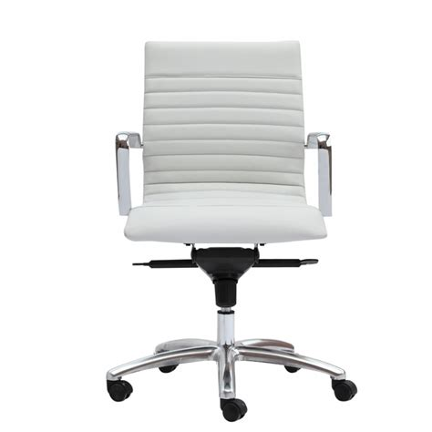 Modern White Desk Chair Zetti Modern White Leather Office Chair Conference Room Chairs