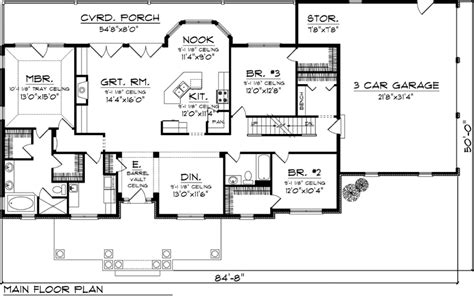 First Floor Plan of Ranch House Plan 73152 Total Living