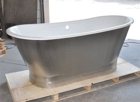 stainless bathtub 67 quot cast iron double ended stainless steel slipper