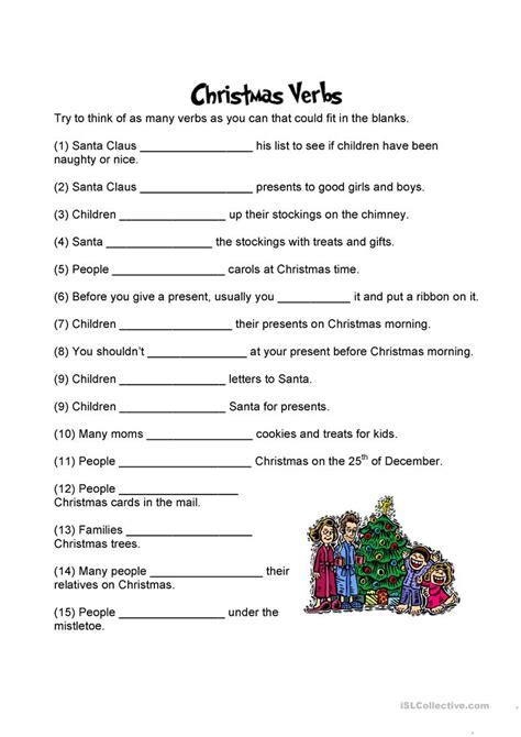 english printable worksheets christmas christmas verbs worksheet free esl printable worksheets