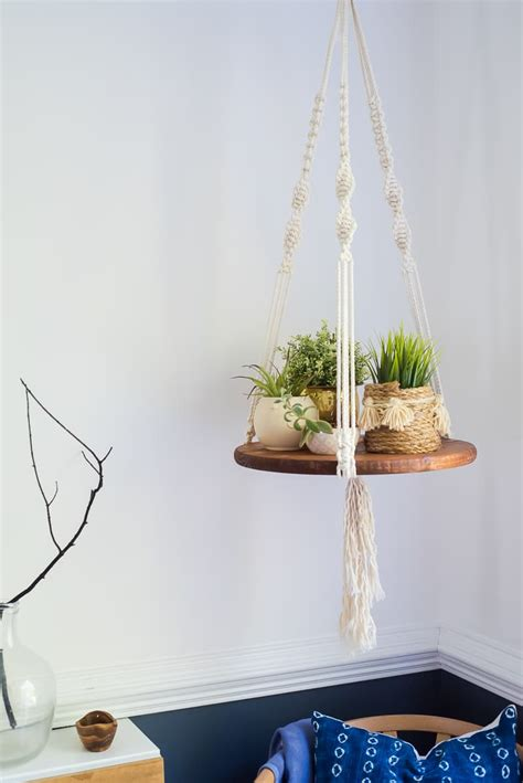 macrame shelf easy diy floating shelf with macrame strings