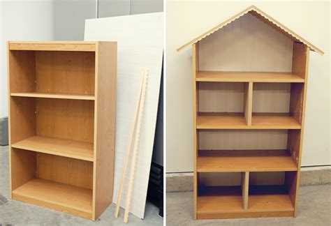 how to make a high doll house out of a bookshelf