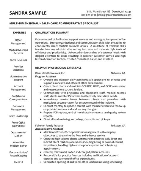 Resume For Healthcare Administrative Assistant administrative assistant resume 14 free word pdf psd