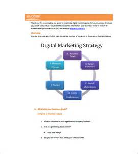 Digital Marketing Plan Template by Digital Marketing Plan Template 10 Free Sle Exle