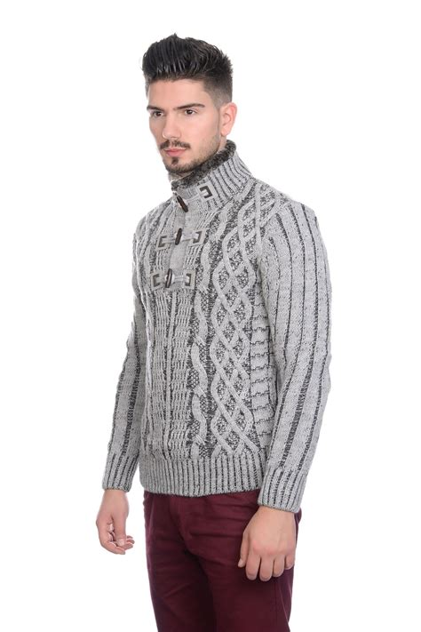 Sweater Trendy bnwt mens designer cable knit jumper cardigan sweater with fleece lined collar ebay
