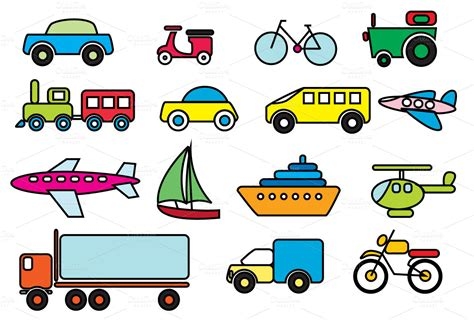 Best Words For Resumes by Transportation Colour Vector Icons On Creative Market