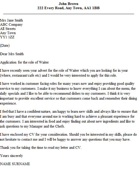 application letter for the waiter waiter cover letter exle icover org uk