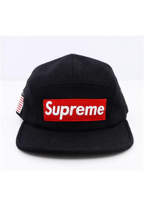 supreme hats supreme world wool strapback hat black