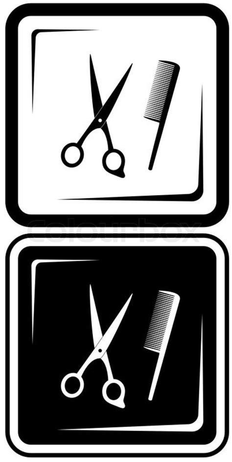 scissors and comb hair salon vector symbols stock