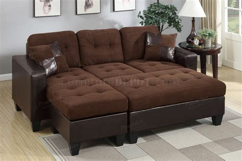 f6928 sectional sofa in chocolate microfiber fabric by