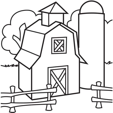 farm scene coloring page coloring home