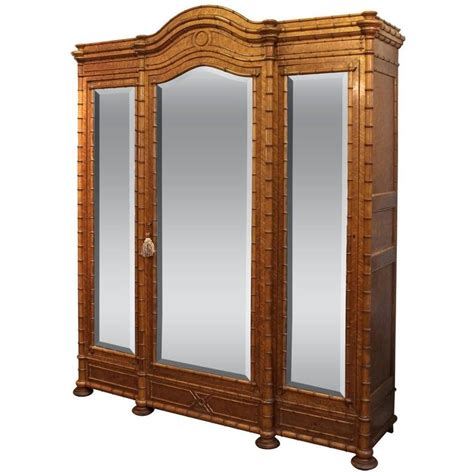 Three Door Armoire Faux Bamboo Three Door Armoire Of Curly Maple At 1stdibs