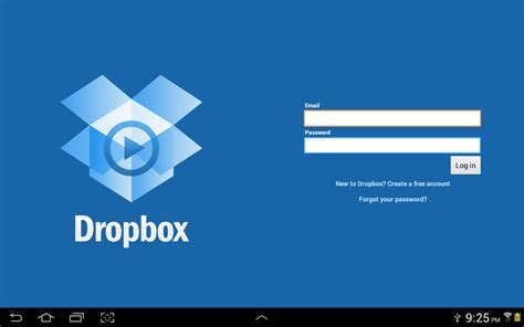 dropbox login page using cloud services to back up data on your samsung