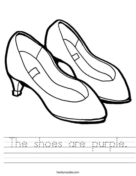 The Shoes Are Purple Worksheet Twisty Noodle Shoe Coloring Pages