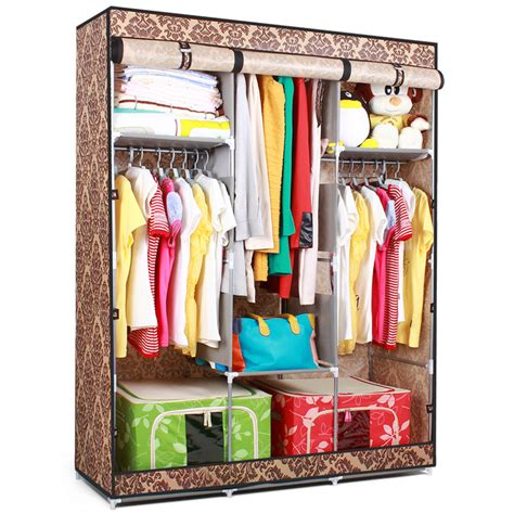 Large Armoire For Hanging Clothes Folding Portable Wardrobe Cabinet Non Woven Fabric