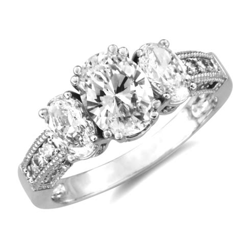 14k white gold 3 three stones oval cz engagement ring