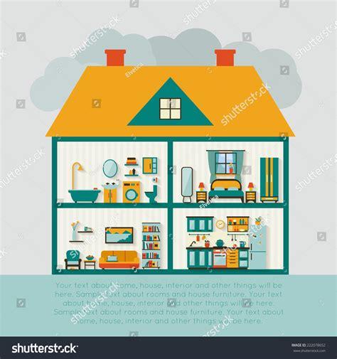 House Interior Vector by House Cut Detailed Modern House Interior Stock Vector