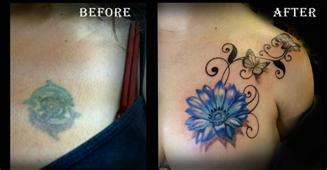 cover up flower tattoos before and after cover up blue flower