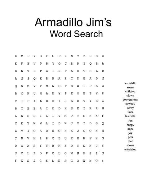 printable word search expert armadillo jim just for kids the leading expert on