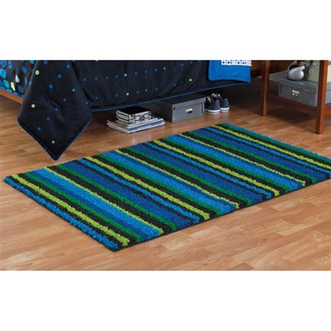 Your Zone Rugs by Your Zone Tufted Shag Accent Rug Blue Stripe Projects Blue Stripes Rugs And