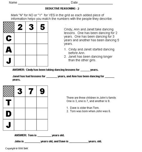 Deductive Reasoning Worksheets by Math Logic Puzzles Worksheets Pdf Order Of Operations