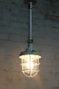 Industrial Cage Pendant Light Cage Light Industrial Pendant With Ceiling Pole From Shack Vintage Shack Vintage