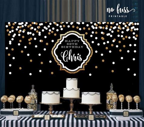 backdrop design sweet 17 black and gold backdrop adults party banner poster