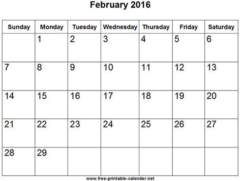Kalender Februar February 2016 Calendar