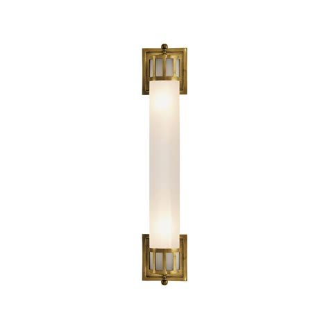 Long Wall Sconce Lighting Hand Rubbed Antique Brass Finish Frosted Glass Shade