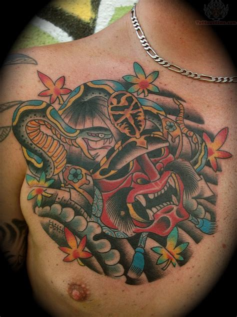 samurai mask tattoo samurai mask samurai on chest