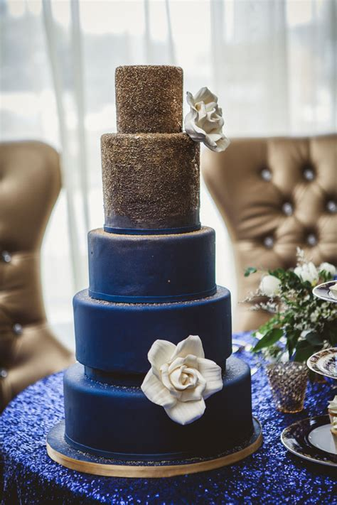 navy blue and gold wedding cake belle the magazine