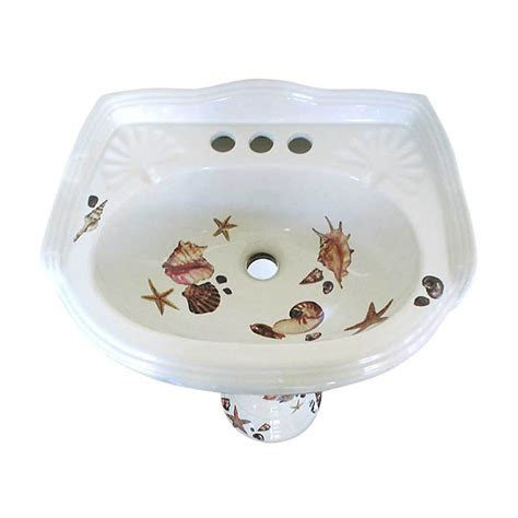 painted bathroom sinks sea shells pedestal sink