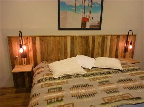 wooden pallet headboards recycled pallet headboard with lights recycled things