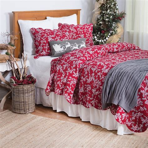 c and f bedding red silver mistletoe full queen christmas quilt 90 quot x 92